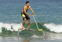 The Hydrofoil Water Scooter Unlike other watercraft, this unique hydrofoil frame allows you to skim across water simply by hopping gently up and down, propelling you as fast as 17 mph Tech Gadgets, Cool Gadgets, Amazing Gadgets, Freestyle Swimming, E Mobility, Hammacher Schlemmer, Water Toys, Cool Technology, Futuristic Technology