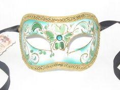 Green Floral Colombina TS Venetian Masquerade Mask Cool Costumes, Amazing Costumes, Venetian Masquerade Masks, Pretty Patterns, Gold Glitter, Decorative Accessories, Floral, Green, Women's Sandals