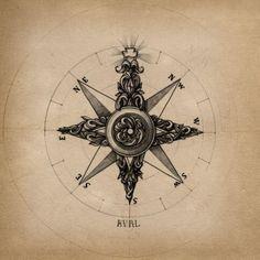 Art nouveau compass (inspiration for elbow tat, perhaps?)