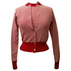 Unworn vintage red and white striped cotton 1950s rockabilly twinset top and cardigan from Candy Says Vintage Clothing www.candysays.co.uk