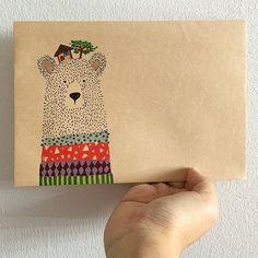 Beary Beary Happy Mail// Greetings// Envelope// Paperart