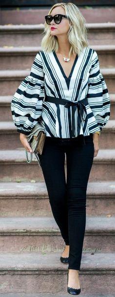 #fall #blackandwhite #outfit #ideas | Striped Top + Black Pants