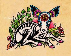 Day of the Dead DEER Fawn Dia de los Muertos Art Print 5 x 7, 8 x 10 or 11 x 14 by illustratedink on Etsy https://www.etsy.com/listing/206799533/day-of-the-dead-deer-fawn-dia-de-los