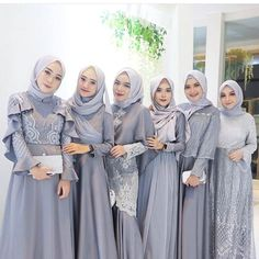 Inspired by cute silver hijab look Hijab Prom Dress, Hijab Style Dress, Hijab Wedding Dresses, Muslim Dress, Dress Outfits, Model Kebaya Muslim, Model Kebaya Brokat Modern, Dress Brokat Muslim, Dress Muslim Modern