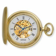 """Gotham Men's Gold-Tone Satin Finish 17 Jewel Mechanical Pocket Watch # GWC14037G Gotham. $69.95. Rich antique style blue cobalt hour, minute and seconds hands plus scratch resistant mineral crystal. Open cover to expose rich white outer Roman numeral dial with exhibition center. Includes matching 15"""" curb pocket watch chain with spring ring attachment. Classic round gold-tone satin finish 17 jewel mechanical covered pocket watch suitable for engraving. Arrives with d..."""