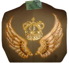 Chaleco pintado a mano con motivo corona y alas, decorado con pedrería. SE HACE POR ENCARGO. http://vevacurbbelo.blogspot.com.es/
