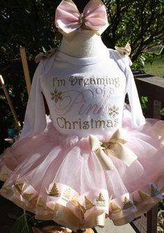 Girls I'm Dreaming of a Pink Christmas pink and gold ribbon trim skirt with gold Christmas tree trim by TutuCutebyChristyB on Etsy