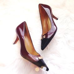 Coach Burgundy Patent Cap Toe Heels so chic and perfect dressed up or for the office! Brand new and never worn. Burgundy with black cap toe and gold Coach logo. No trades!! 012416290tmr Coach Shoes Heels