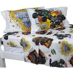 4pc Monster Jam Monster Truck Destruction Bed Sheet Set: Full Size