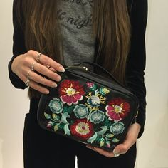 Take cues from the '60s trend with this embroidered leather saddle bag. A clean silhouette with smooth edges and a secure zip-around fastening, it features pretty floral embroidery detailing to the front. #Topshop