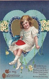 Signed Ellen H Clapsaddle Valentine Lil Girl Sits in Heart Flower Rope Gold Emb