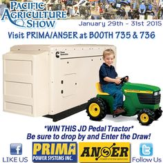 """#pacagshow2015 @pacagshow, The Pacific Agricultural Show is only a couple of weeks away! Be sure to drop our booth # 735 & 736 to say """"hi"""" and enter our draw to WIN your kids a JD pedal tractor! ~See you there~"""