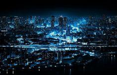 Blue Lights Of Osaka At Night, Japan | Photography by ©Yoshihiko Wada