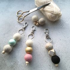 My Newest Make! Quite Accidental, but have recieved soem lovely feedback so here they are! Now Available to Order.   Felt key ring, keychain, wood bead, bag charm, felt balls, zipper charm, pompom key ring, bridesmaid gift, small gift, pastel colours by OhSewEvie on Etsy
