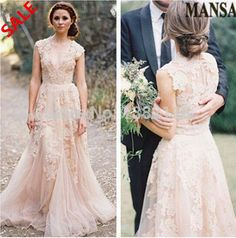 Nuevos una línea vestidos de boda 2014 Vestidos Vestidos de Noiva vestido de novia de encaje Robe de Mariage cuello en V personalizada Jardín de novia en Vestidos de Novia de Moda y Complementos en AliExpress.com | Alibaba Group