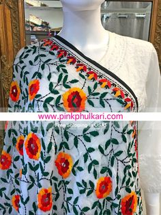 Hand Embroidered Parsi Phulkari. One of kind Shop Online in USA- Free Shipping in USA. We ship worldwide. Shop on our website 📲www.pinkphulkari.com Indian Embroidery, Hand Embroidery, Embroidery Designs, Indian Fashion, Women's Fashion, Elegant Saree, Silk Dupatta, Beautiful Hijab, Fabric Painting