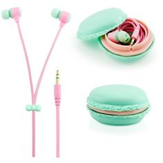 GEARONIC TM Stereo 3.5mm In Ear Earphones Earbuds Headset with Macaron... ($5.99) ❤ liked on Polyvore featuring headphones, iphone earbuds, samsung, cell phone earbuds, apple iphone earbuds and samsung smartphones