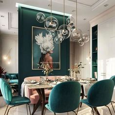 Moscow, Russia - Beautiful emerald green tones to accent this dining room space Post with 0 votes and 212466 views. Moscow, Russia - Beautiful emerald green tones to accent this dining room space Interior Design Minimalist, Interior Modern, Room Interior, Home Interior Design, Interior Design For Living Room, Interior Livingroom, Design Interiors, Modern Interiors, Green Dining Room