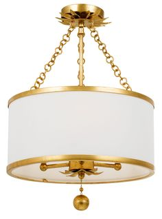 The Broche Semi Flush Ceiling Light leans traditional with a bit of glamour in the details. Versatile enough to be used in any space. Features a White Linen shade with Antique Gold of Antique Silver finish. UL listed.
