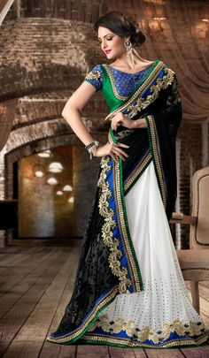 Beautiful lehenga with blue and green detailing.