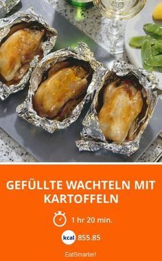 Gefüllte Wachteln mit Kartoffeln - smarter - Kalorien: 855.85 kcal - Zeit: 1 Std. 20 Min. | eatsmarter.de 20 Min, Eat Smarter, Baked Potato, Potatoes, Baking, Ethnic Recipes, Food, Peeling Potatoes, Meat