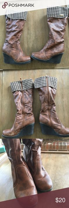 Cognac houndstooth boots Good condition, some scuffs on the front, can probably be polished or painted, hounds tooth boots, super comfy, about a 4 inch heel these hit about 2 inches from the knee Shoes Heeled Boots