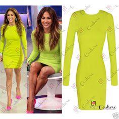 Womens-Long-Sleeve-Neon-Green-Yellow-UK-Ladies-Bodycon-Bandage-Short-Party-Dress