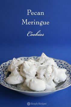 Light and sweet meringue cookies made with beaten egg whites, sugar, and pecans. Great holiday cookie! On SimplyRecipes.com