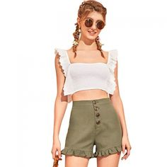 Buy New White Cotton Sleeveless U Neck Crop Top online in India at best price.Cheap Camis, Buy Directly from China Suppliers:New Women Sexy U-neck Slim Short Top Feminine Ruffle Corrugated Crop Tops Online, Sleeveless Crop Top, Short Tops, New Woman, White Cotton, Cami, Short Dresses, Sexy Women, Feminine