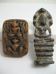 Currently at the #Catawiki auctions: Two Thai Buddhist amulets - Thailand - first half 20th Century