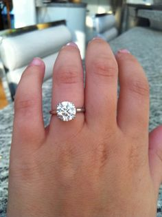 Perfect!!! Best one i've seen. 2.8 carats. Simple band. Is that a lot to ask lol