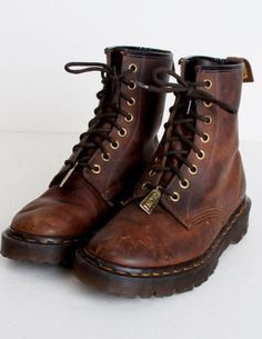 81cae0bbb Discover this look wearing Brown Vintage Dr Martins Boots - Size 6 Vintage  Dr Martins Brown Oiled Leather Lace Up Boots 36 by twinheartsvintage