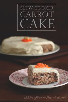 The best low carb Carrot Cake, cooked in your slow cooker! Easy, moist and delicious, with a rich sugar-free cream cheese frosting.