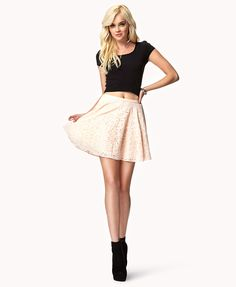 Lace Skater Skirt | Forever 21. She just needs to pull down her shirt a bit an it's a super cute outfit!