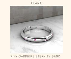 Dream Ring, Birthstone Jewelry, Eternity Bands, Pink Sapphire, Custom Jewelry, Anniversary Gifts, Stack Game, White Gold, Gemstones