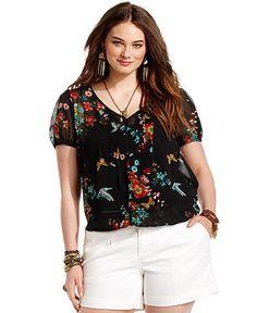 American Rag Plus Size Top, Short-Sleeve Floral-Print Blouse - Plus Size Tops - Plus Sizes - Macys