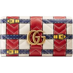Gucci Gg Marmont Trompe L'Oeil Continental Wallet ($695) ❤ liked on Polyvore featuring bags, wallets, accessories, wallets & small accessories, women, red wallet, snap closure wallet, snap wallet, continental wallets and gucci