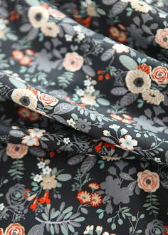 """Flower Pattern Black Cotton Fabric by Yard Blooming Garden Blackberry -20s Cotton 100% -1 Yard Width & Length: 43""""X 36"""" (110cm X 90cm)  -It is suitable for Curtain, Cushion, Bag, Patchwork and other stuff.   It will be shipped from South Korea. International delivery takes about 2 weeks to most countries after shipment (there is no shipping on the weekend or holidays). - Tracking service or expedited shipping is available upon request at extra cost. - Please send us a inquiry if you have ..."""