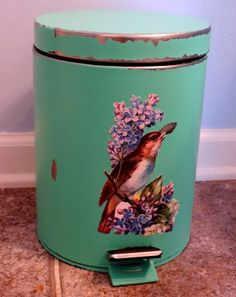 give a generic trash can a cottage style makeover easily with paint, bathroom ideas, diy, home decor, painting, repurposing upcycling