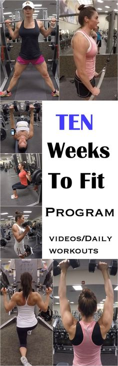 10 WEEKS TO FIT PROGRAM WITH VIDEOS AND DAILY WORKOUTS! workout plans, workouts #workout #fitness