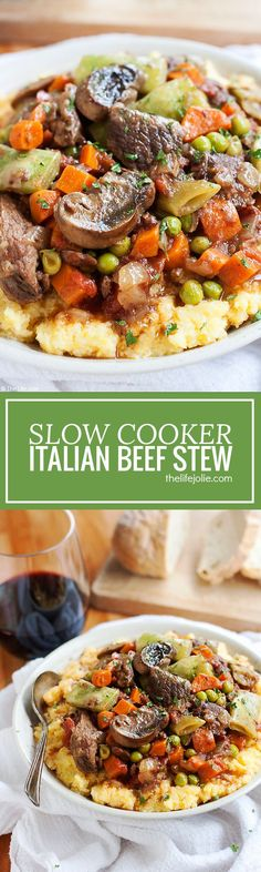 This Slow Cooker Italian Beef Stew recipe is one of my favorite easy comfort food meals. With tender meat, vegetables, tomatoes (and a little bit of wine for good measure!) this tastes fantastic served over potatoes, pasta or polenta with a nice, crusty p
