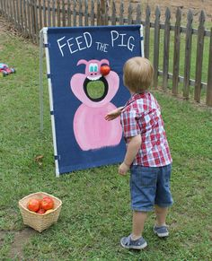 Farm party: Feed The Pig game made from pvc pipe and demin. Add a basket of $ store fruit and have fun