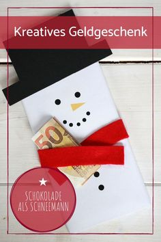Make a thank-you gift: creative packaging of Christmas gifts - Christmas gift wrap creatively: The chocolate snowman can be used very well to give away money. Diy Birthday Gifts For Him, Creative Birthday Gifts, Creative Christmas Gifts, Christmas Gift Wrapping, Creative Gifts, Christmas Presents, New Mom Gift Basket, Creative Gift Wrapping, Thank You Gifts