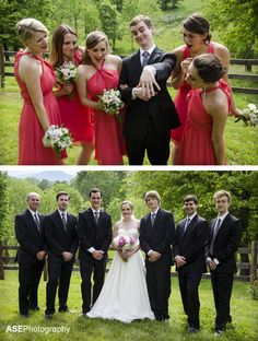 Funny wedding photography: Bridesmaids with groom and groomsmen with bride by ASE Photography #asheville
