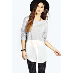Jersey mitad camisa gris y blanco