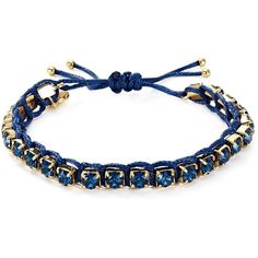 Tory Burch Swarovski Crystal Macrame Bracelet ($100) ❤ liked on Polyvore featuring jewelry, bracelets, navy, woven bracelet, swarovski crystal bangle, braided bracelet, swarovski crystals jewelry and tory burch jewellery