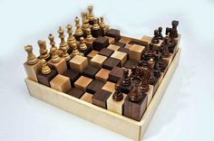 terrain Chess is part of Wood chess board - Wooden Board Games, Vintage Board Games, Cool Woodworking Projects, Wood Projects, 3d Chess, Chess Sets, Wood Chess Board, Classic Board Games, Chess Pieces