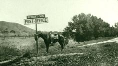 Post office, Thousand Oaks area in California, 1909.  too funny