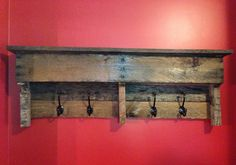 Pallet shelf/ coat hook from a pallet.