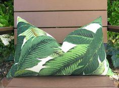 Modern Palm Decorative Pillow - Palm Tree Motif - Green - Dark Green - Light Green - Tropcial Lumbar Pillow Cover - Outdoor Pillow